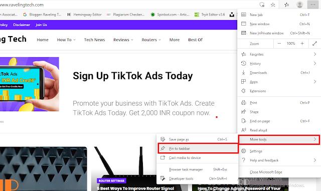 Pin Your sites to taskbar