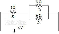 Rangkaian listrik dengan susunan hambatan seri dan paralel, arus listrik yang mengalir pada R2