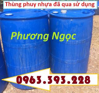 Thùng phuy nhựa nắp kín 220L đã qua sử dụng, thùng phuy nhựa 2 nắp nhỏ, thùng ph Aeb428aed38031de6891