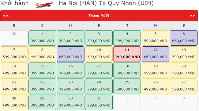 Giá vé máy bay  Hà Nội đi Quy Nhơn tháng 10 hãng Vietjet Air