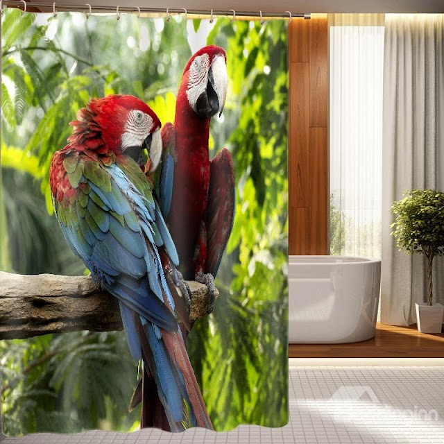 Superb Vivid Parrot Design 3D Shower Curtain
