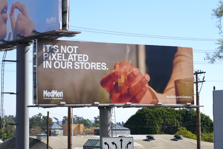 not pixelated in stores MedMen cannabis billboard