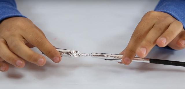 papel, aluminio, petardo, casero, experimento