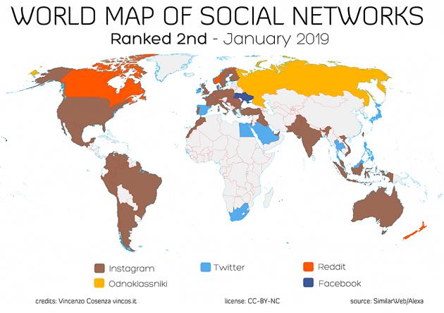 Qual è la seconda scelta social più popolare nei vari Paesi del Mondo nel 2019?