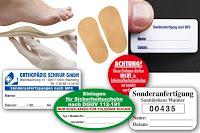 Orthopädie-Labels für Einlagen und Maßanfertigungen