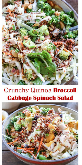 Crunchy Quinoa Broccoli Cabbage Spinach Salad #Crunchy #Quinoa #Broccoli #Cabbage #Spinach #Salad