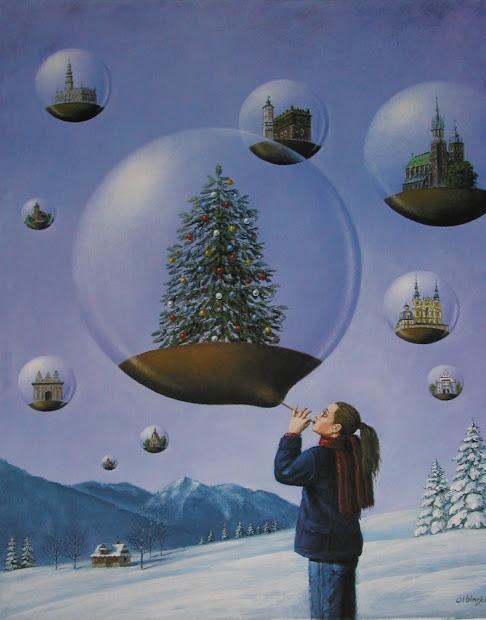 Christmas Tree Paintings Surrealism