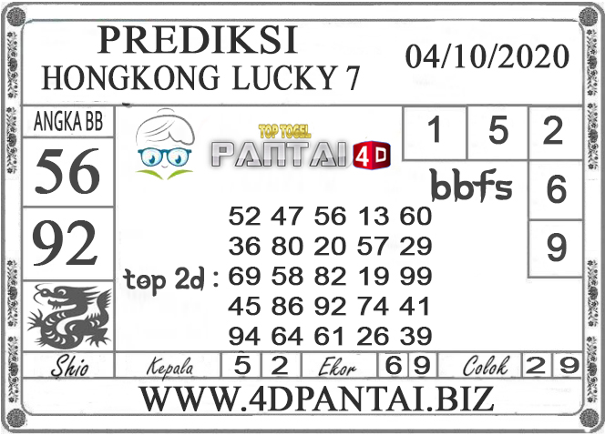 PREDIKSI TOGEL HONGKONG LUCKY 7 PANTAI4D 04 OKTOBER 2020