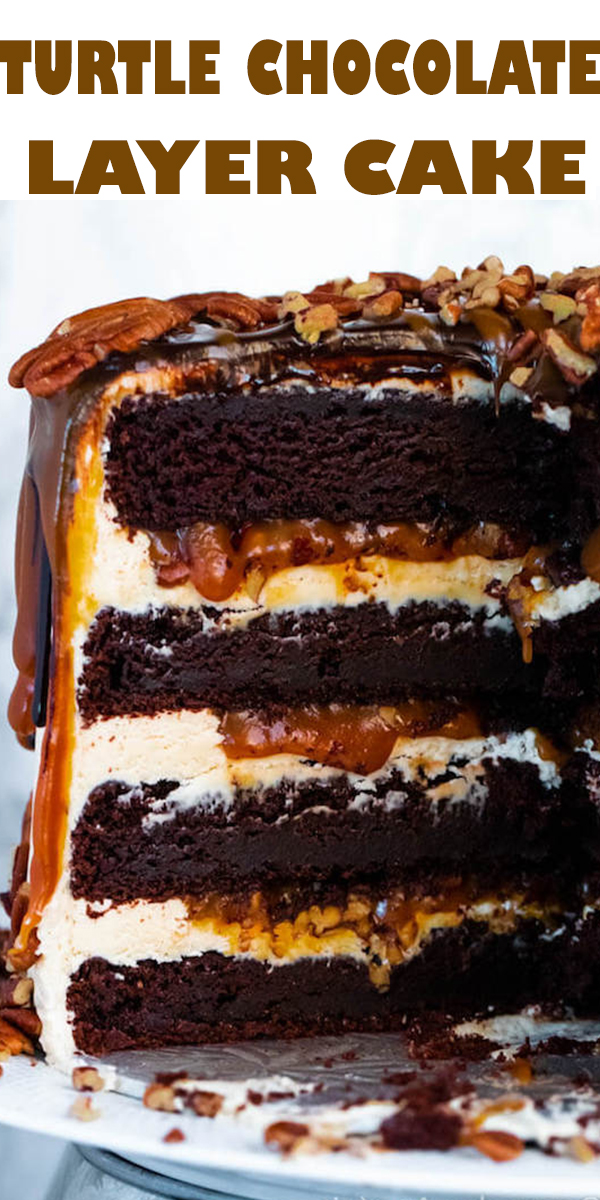 TURTLE CHOCOLATE LAYER CAKE #TURTLE #CHOCOLATE #LAYER #CAKE #TURTLECHOCOLATELAYERCAKE