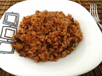 arroz con setas y sobrasada