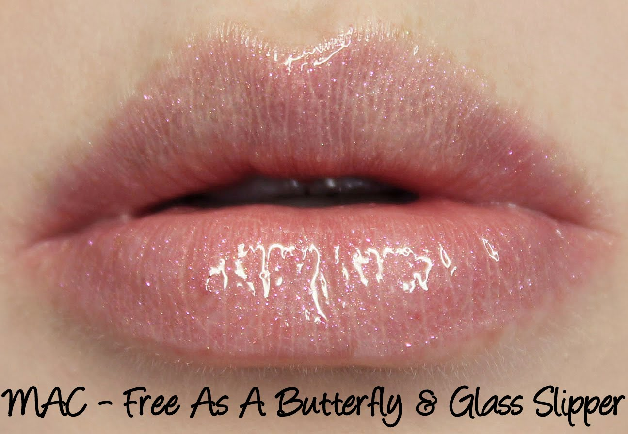 MAC Cinderella - Free As A Butterfly lipstick & Glass Slipper lipglass swatches