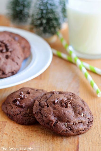 These luscious double chocolate mint cookies are soft and gooey, with just the right amount of mint!