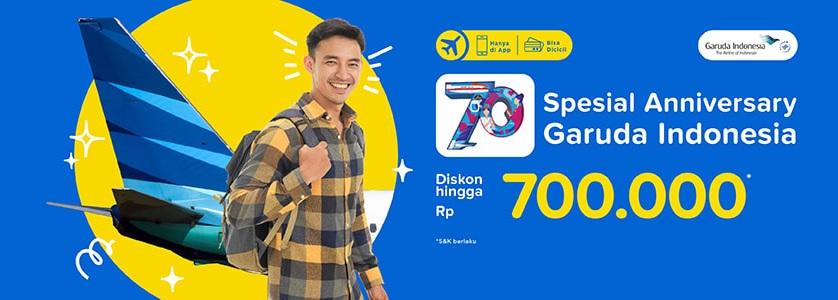 #Tiket - #Promo Diskon s.d 700 Ribu Tiket Pesawat GARUDA Spesial Ulang Tahun (HARI TERAKHIR)