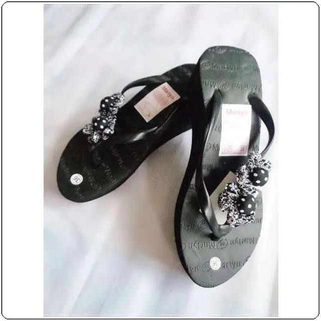 Sandal Spon Japit Hak Tinggi Marlyn Bunga