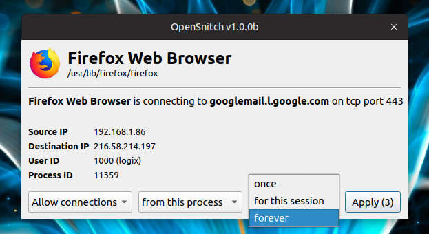 OpenSnitch Linux Application FIrewall