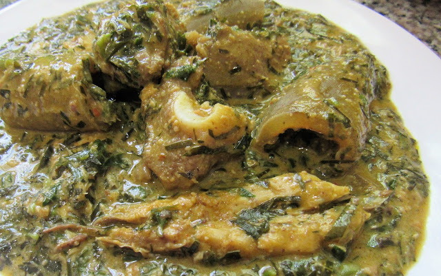 Afang soup cooked with groundnut
