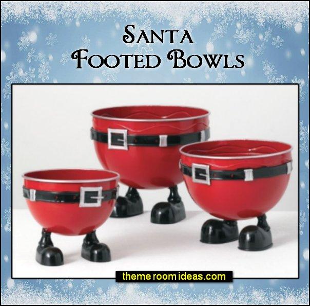 Santa Footed Bowls christmas table decorations