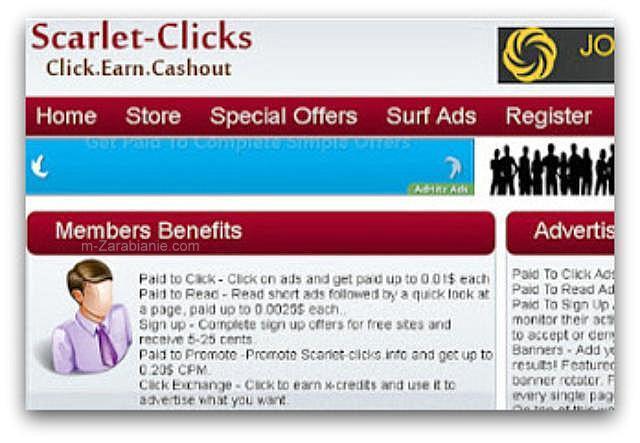Scarlet-Clicks — płatne oglądanie reklam.