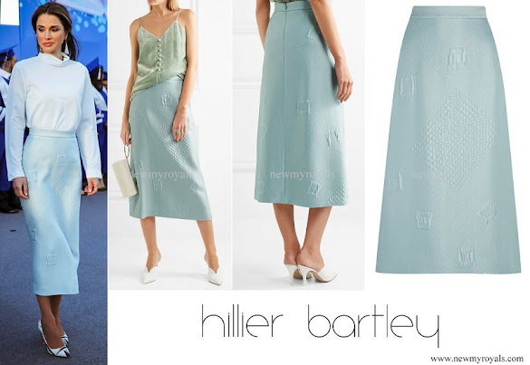 Queen Rania wore HILLIER BARTLEY Quilted jacquard midi skirt