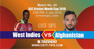 Who will win World Cup Cricket 42nd Match West Indies vs Afghanistan