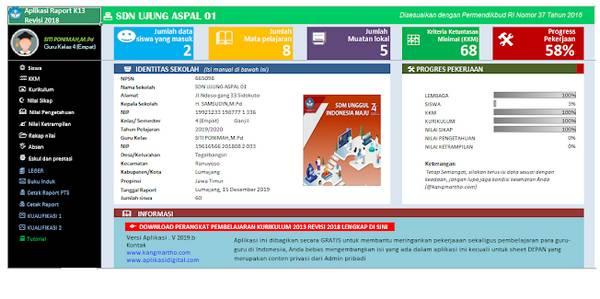 Aplikasi Raport Kelas 3 Semester 1 Kurikulum 2013 Revisi 2019