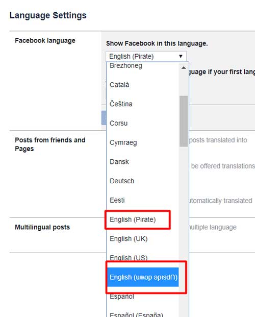 Change Facebook Display language to Pirate: 14 Facebook Tricks & Features You Need to Know: eAskme