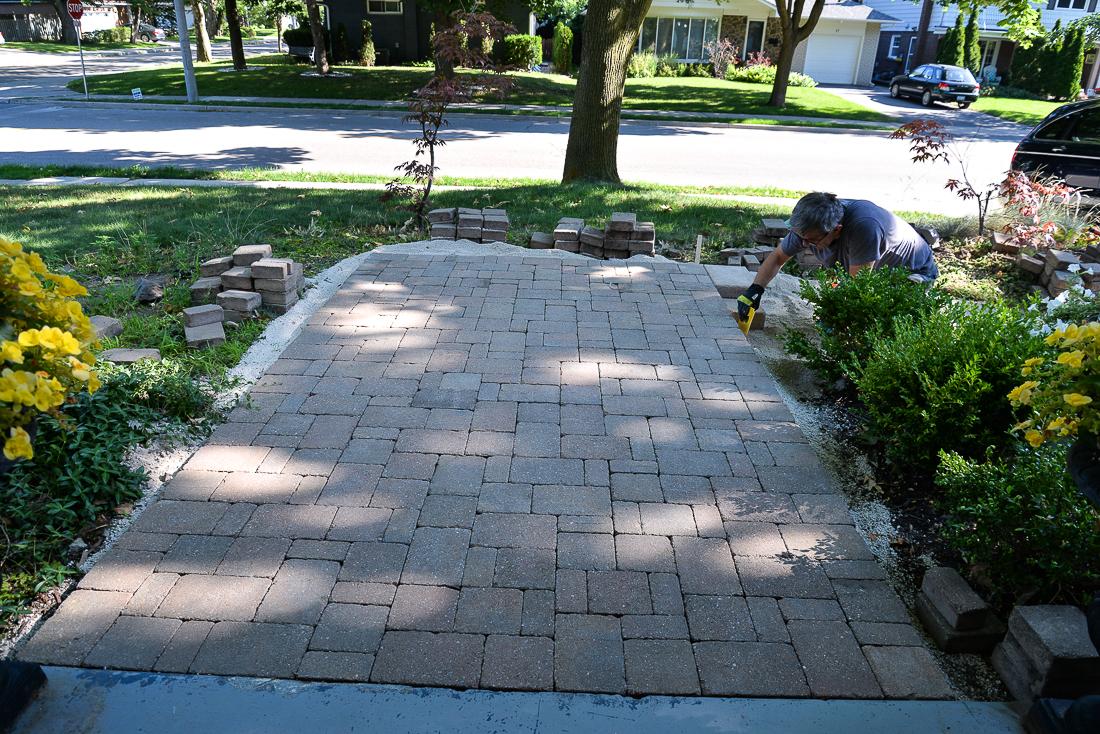 paver walkway, diy paver walkway, how to install a paver walkway, paver repair