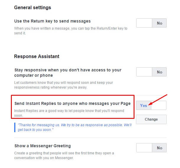 Facebook auto reply msg