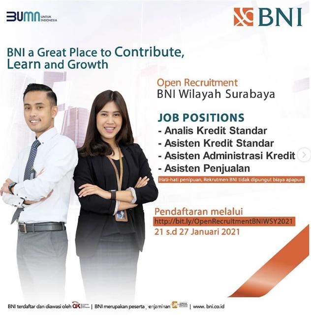 Open Recruitment BNI Wilayah Surabaya