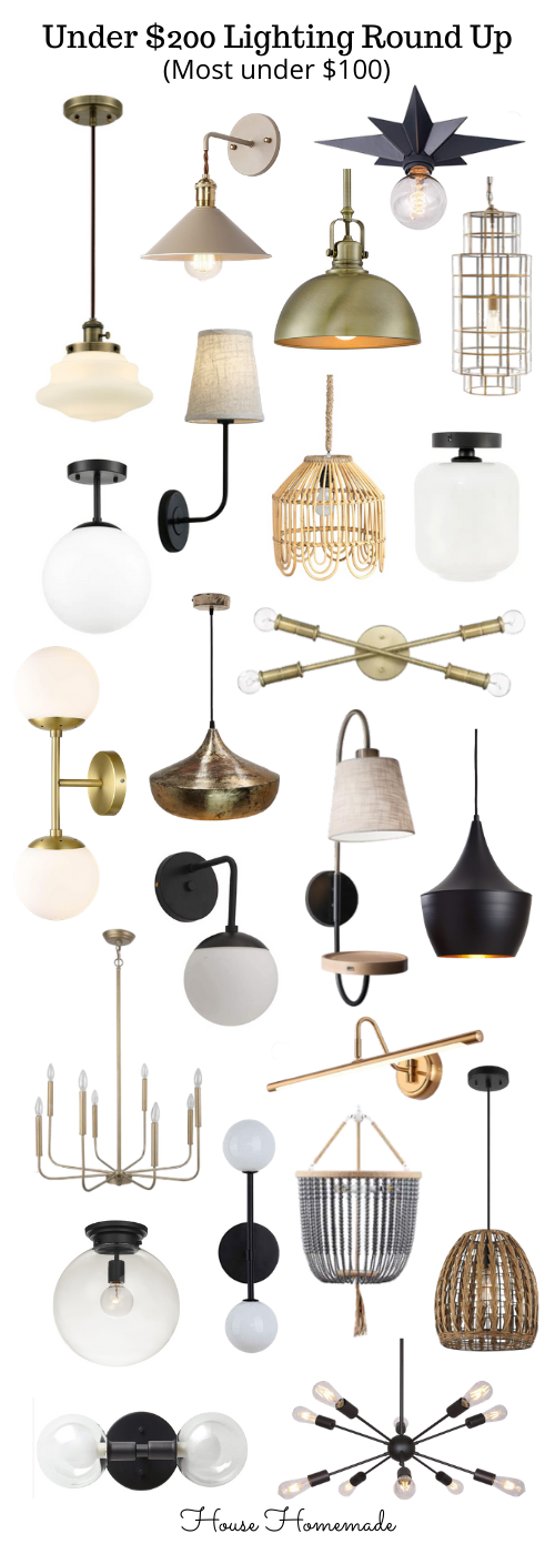 I pulled together some of my favorite lights. There are flush mounts, wall sconces, pendant lights, vanity lights and chandeliers all under $200