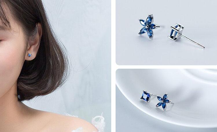 對稱 or 不對稱 花朵幾何藍鋯石耳環