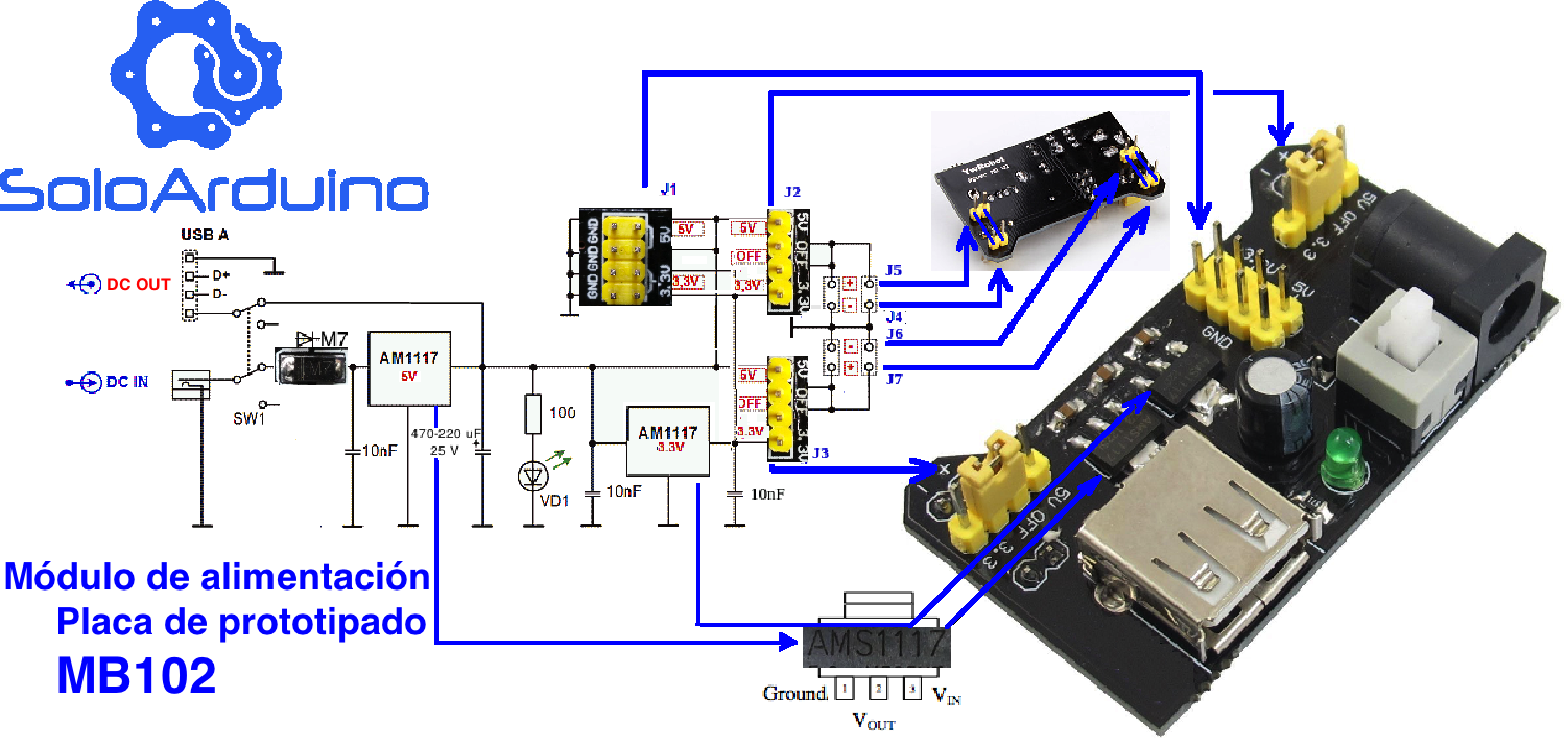 3.3v 5v breadboard power supply module