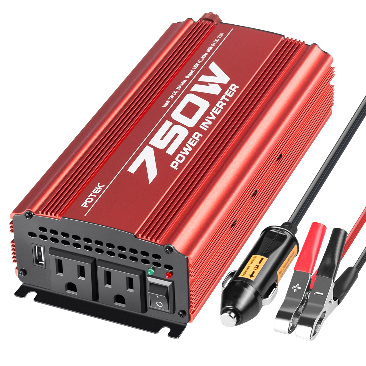 Electronicks New 750 Watt Continuous 1500 Watt Peak 12V to 115V Power Inverter