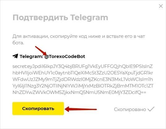 Регистрация в Torexo 5