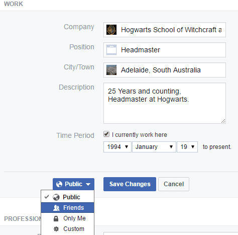 Filling out Workplace Information in your Facebook Profile page