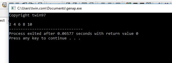 Coding Perulangan Bilangan Genap C++