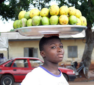 Mango is popular food people in Africa eat.