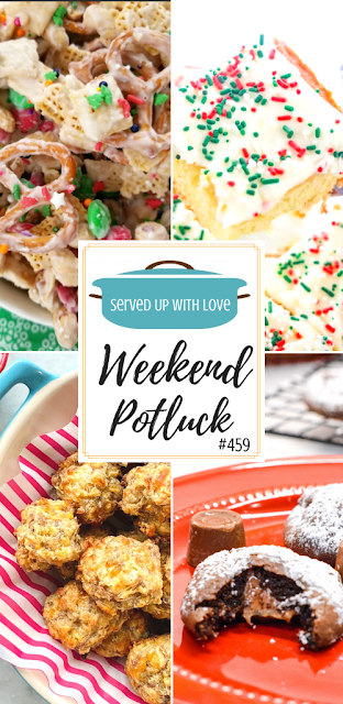 Weekend Potluck features include Christmas Sugar Cookie Cake, Rolo Cake Mix Cookies, Cream Cheese Sausage Balls, White Chocolate Trash, and more.
