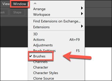 اضغط على Window> Brushes لإظهار لوحة القائمة Brushes في Photoshop