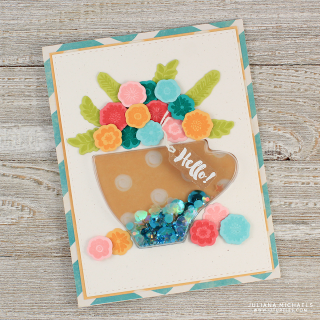 Hello Coffee Shaker Card by Juliana Michaels featuring Jillibean Soup Coffee Cup Shake Card and Latte Stamp Set