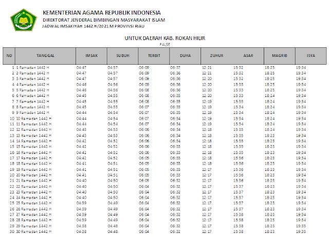 Jadwal Imsakiyah Ramadhan 1442 H Kabupaten Rokan Hilir, Provinsi Riau