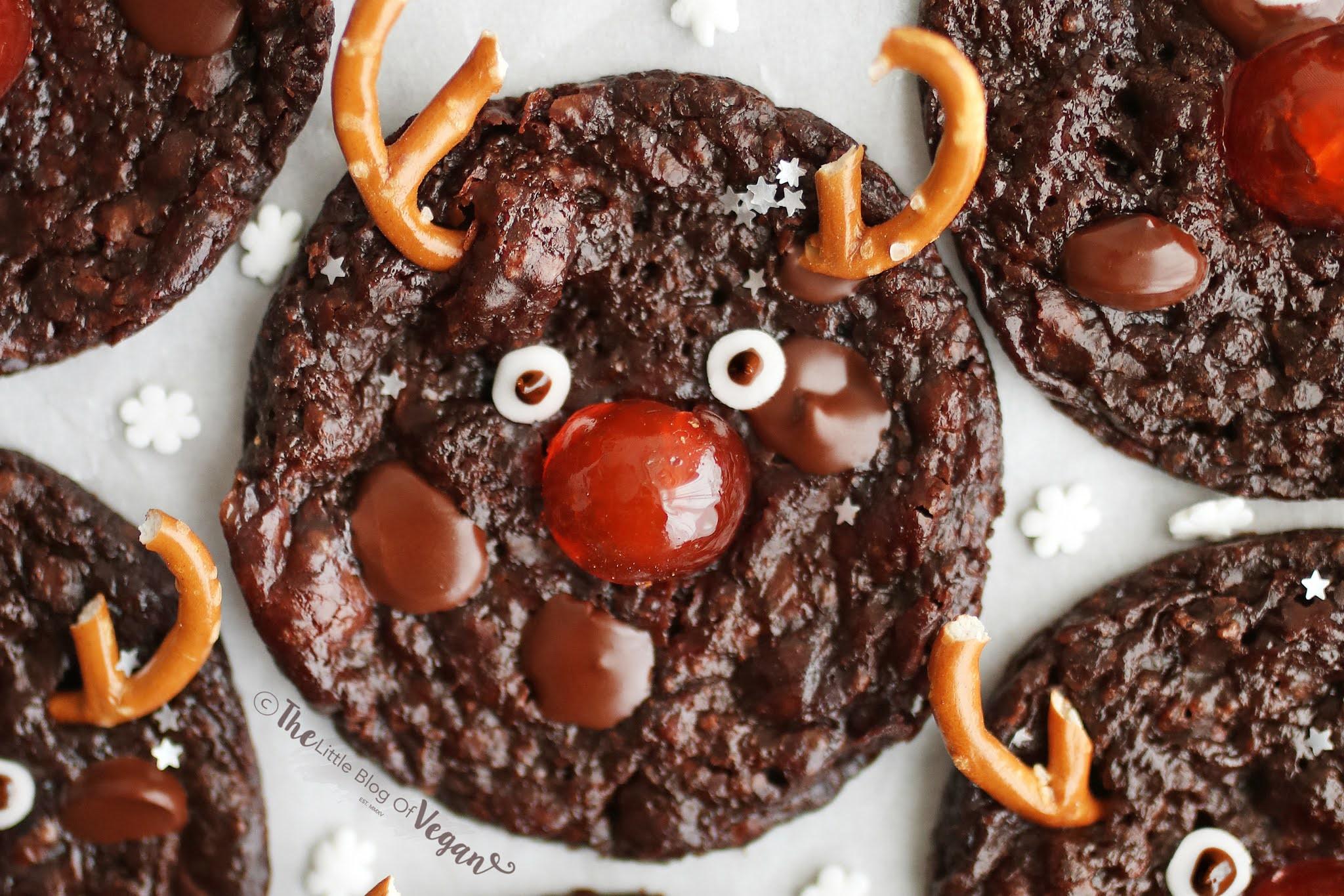 Chocolate Reindeer Brownie Cookies