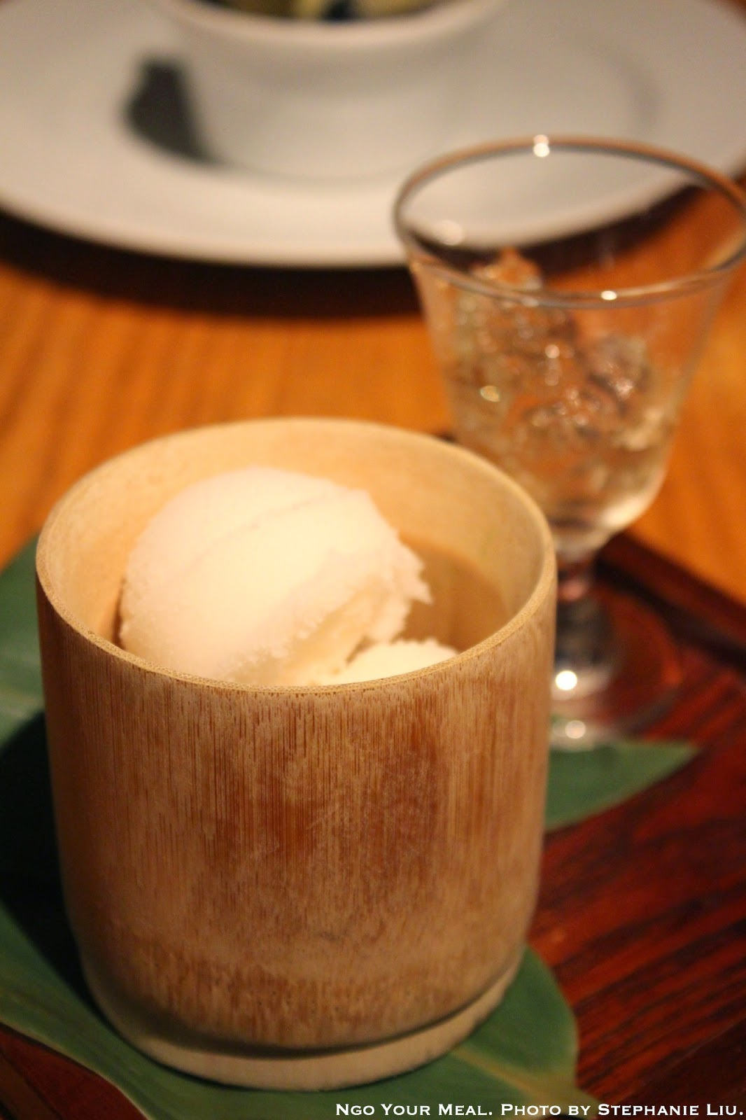 Hannya Ume Sake Sorbet served with ume sake jello at Sakagura