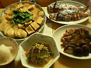 夕食の献立 サバ西京焼き カブ煮物 キュウリ明太子 豚生姜