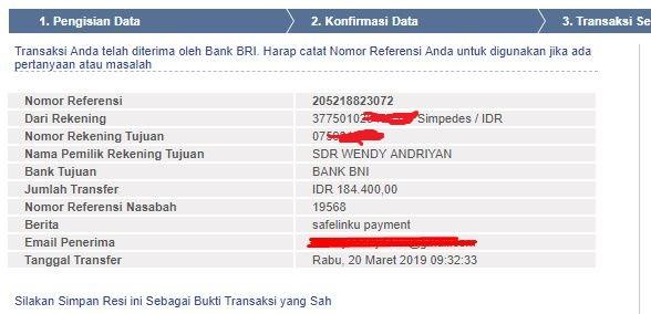 Bukti Pembayaran Safelinku Bulan Maret 2019