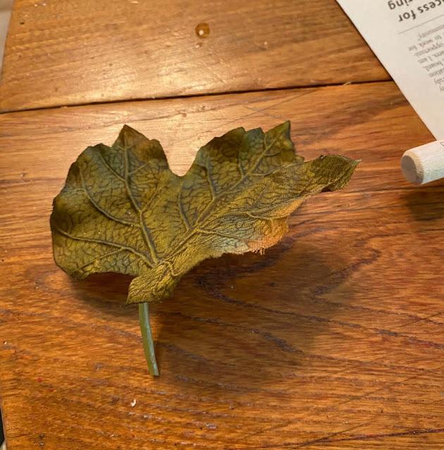 Photo of a green silk leaf