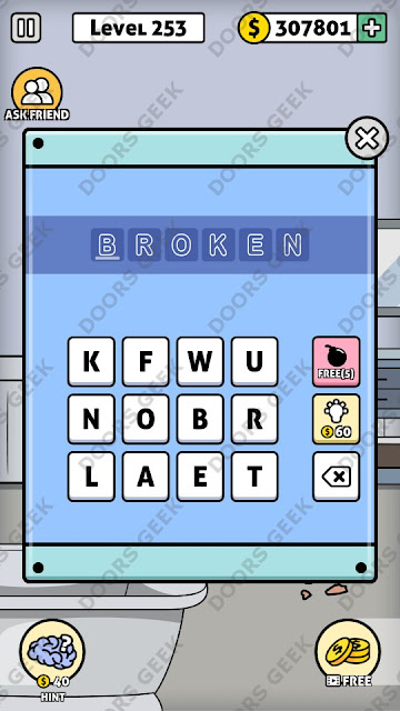The answer for Escape Room: Mystery Word Level 253 is: BROKEN