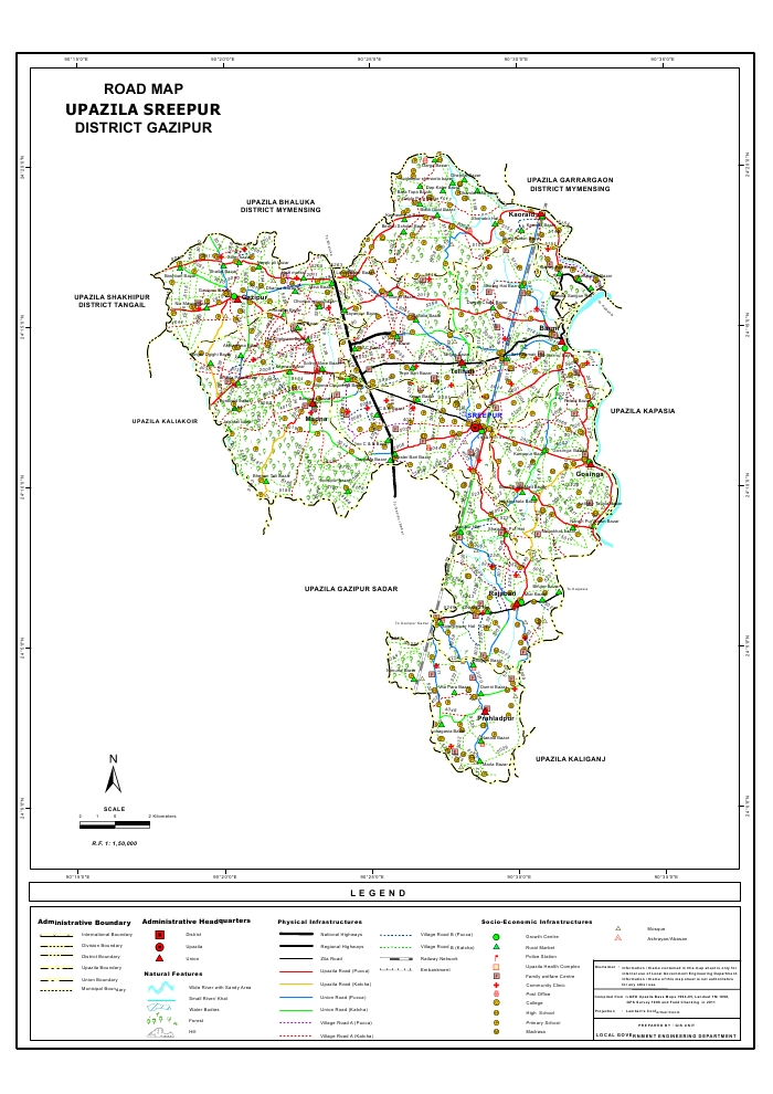 Sreepur Upazila Road Map Gazipur District Bangladesh