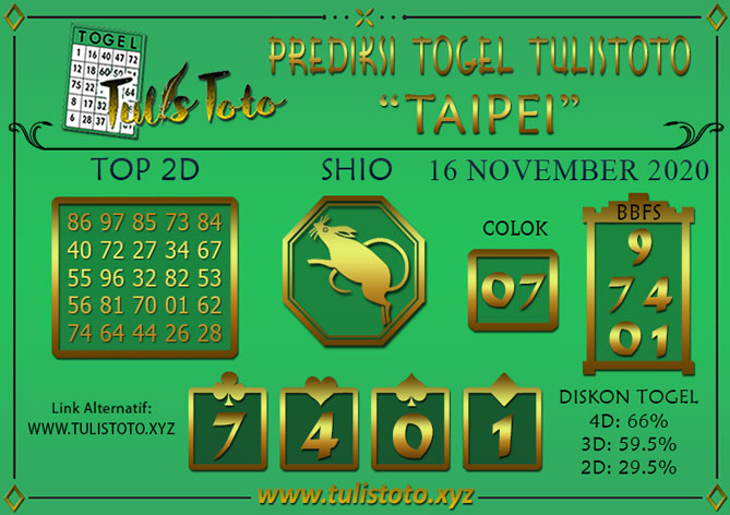 Prediksi Togel TAIPEI TULISTOTO 16 NOVEMBER 2020