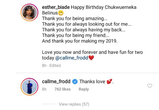 Esther Agunbiade celebrates her one time lover, Frodd as he turned a year older